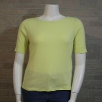 Chico's Misses 2 LARGE 12 Yellow Green SS Cotton Crewneck Shirt T-shirt