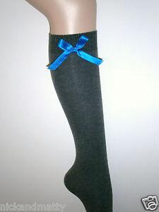 GREY KNEE HIGH SCHOOL-FASHION SOCKS WITH ROYAL BLUE SATIN BOWS Children-Ladies