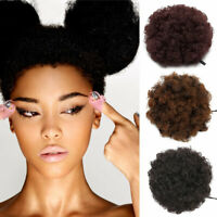 New Real Thick Drawstring Afro Bun Puff Kinky Curly Pony Tail Hair Extensions US