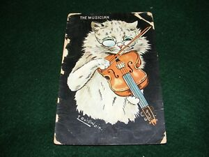 "VINTAGE POSTCARD ART LOUIS WAIN CAT KITTEN ""THE MUSICIAN"" PLAYING VIOLIN MUSIC"