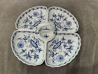 Antique German Meissen Porcelain Blue Onion Large Divided Serving Dish Relish