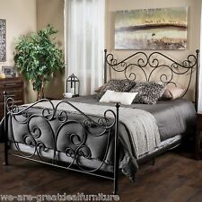 Bedroom Furniture King Size Scroll Design Iron Bed in Dark Bronze