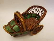 """Vintage Wicker Baby Doll Rocking Bed Cradle Crib Furniture with Wheels 7x4x4.5"""""""