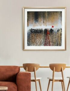 STUNNING Acrilc Pouring Painting Modern art* LoVe*  Black Red Gold *Contemporary