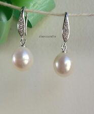 Genuine 925 sterling silver 10-11mm drop freshwater pearl CZ dangle earing White