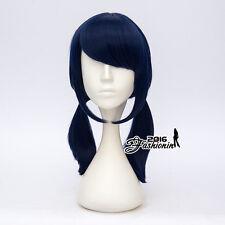 42CM Medium Dark Blue Wavy Halloween Women Cosplay Synthetic Hair Wig+Wig Cap