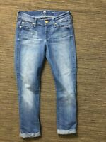 7 For All Mankind Adult Womens 23 Jeans The Skinny Crop And Roll Blue