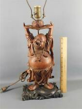 ANTIQUE CHINESE CARVED WOOD HAPPY BUDDHA LOTUS STATUE TABLE LAMP
