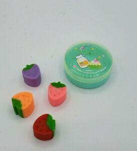 Vintage 1980's SOUNDY Cased Fruits Strawberry Erasers Kawaii Taiwan 4 Pcs School
