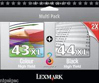 LEXMARK ORIGINAL 18Y0144E BLACK 44xl + 18Y0143E 43xl COLOR 80D2966 INK CARTRIDGE