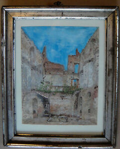 Antique gouache. Ruin of Koldinghus Castle Denmark. Peter Toft Petersen? Framed
