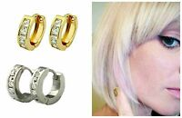 """""""PVD BONDED"""" 18k YELLOW or WHITE GOLD Cubic Zirconia Small HUGGIE Hoop Earrings"""