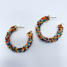 "Shape D1.75"" Hoop Style Post Earrings Gold Tone Multi Color Beads Open Circle"