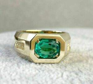 14K YELLOW GOLD PLATED MEN'S BREATHTAKING ENGAGEMENT WEDDING RING 2.5CT EMERALD