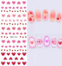 Día de San Valentín Decoración De Uñas Agua Calcomanías Pegatinas Mate Rojo Rosa Corazones Amor (DS296)
