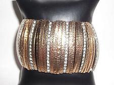 AMRITA SINGH Bracelet Austrian Crystal & Gold Tone Rhinestone Stretch NWT $100