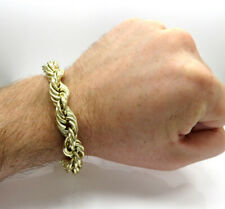 """Real 10k Yellow Gold 7mm Italy Diamond Cut Rope Chain Bracelet Lobster Clasp 9"""""""