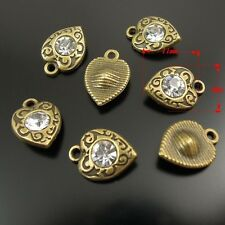10X Antiqued Bronze Tone Pendants Alloy Heart With Rhinestone Findings 11*9*3mm