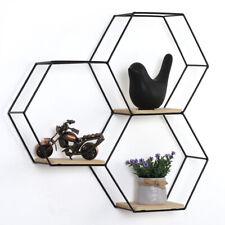 Hexagonal Floating Shelves Honeycomb Wall Décor Black Metal Wood Materials,Decor