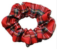 Red Tartan 90s Style Large Scrunchie Hair Band Handmade UK