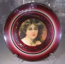 Antique 1900 Round Glass Frame Window Young Woman Printing Painting Belgium #2