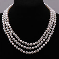 3 Row Real Freshwater Pearl Necklace & Sterling Silver Clasp - UK Seller