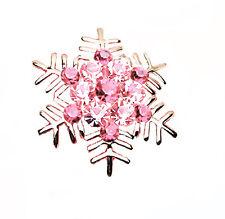 Meravigliosi Oro Lucido & Cristallo Rosa Fiocco di neve Spilla Natale BR109