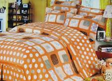 Cotton Queen Size Orange Dots Duvet Cover /Comforter Cover Sheet Set Grey Square