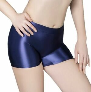 Women's Glossy Seamless Leggings Shorts Wetlook Solid Cycling Pants Sports Gym