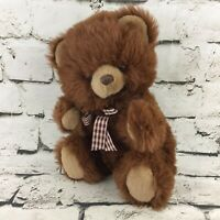 A&A Teddy Bear Plush Brown Side-Sitting Stuffed Animal Gingham Ribbon Soft Toy