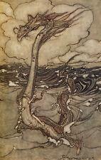 Arthur RACKHAM il Serpente Marino dell'Oceano MARITTIMA Fairytale Fata Stampa montata
