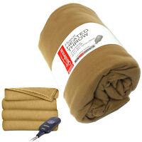 Sunbeam Electric Heated Throw Blanket 50x60 Fleece Soft Cozy Bed Heat Warm Beige