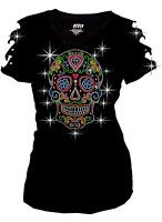 Bling Bling Sugar Skull Rhinestone T-Shirt,w Heart & Neon Studs S to 3XL Short