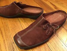 Women's 7.5M Mules NATURALIZER  Brown Leather Slip On Wedge Heel Comfort Shoes