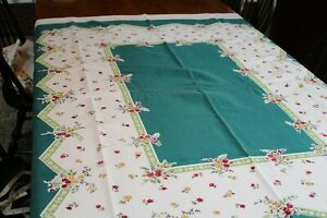 Vintage Cotton Kitchen Tablecloth Flowers and Green 52x58