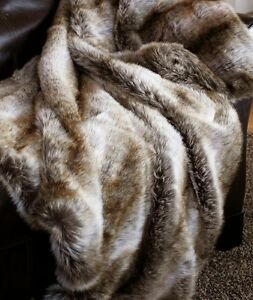 "Chinchilla Fur Throw - Luxurious Faux Fur - Large 54"" x 60"" - Free Ship"