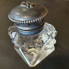 INK WELL Antique Heavy Glass hinged lid possible pewter