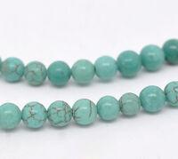5 Strange Türkis Rund Spacer Perlen Beads Grün 6mm 40cm