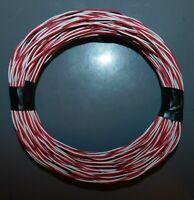 FIL ELECTRIQUE ROUGE & BLANC NEUF POUR CABLAGE RESEAU . 2 x 0,5mm / 10 ou 20ml