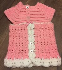 Handmade Infant Sweater Dress Pink And White Button Up Measurements In Photos