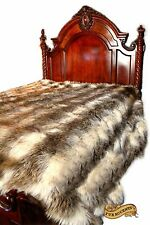 Faux Fur Bedspread - Shaggy Shag Throw Blanket - Gray Stripe Wolf - Bear Raccoon