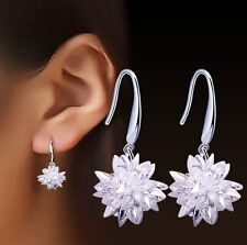 Bridal 13mm Crystal Clear Ice Frosty Flower 925 Sterling Silver Drop Earrings I7