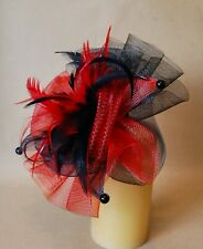 BLACK & RED FASCINATOR for WEDDING / SPECIAL OCCASION - BRAND NEW