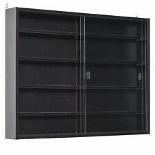 Display Cabinet Black Wooden Storage Unit Adjustable Shelves Glass Sliding Door