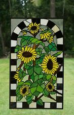 "Large Handcrafted stained glass window panel Sunflower Garden 20.75"" x 35"""