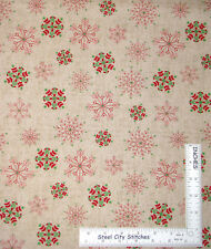 Nordic Christmas Snowflake Snow Scandinavian Beige Cotton Fabric Windham - Yard
