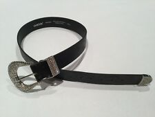CHICO'S BELT BLACK WITH RHINESTONE BUCKLE SIZE SMALL EUC