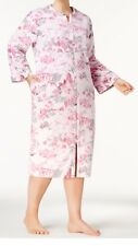 Miss Elaine $72 Women's Zip Front Floral Print Fleece Robe 2X