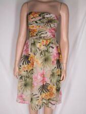 NWT Tommy Bahama Floral SIlk Dress 4 Ruched Tucked Bodice Tropical Orchid