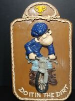 Do It In The Dirt. Handmade Ceramic Motorcycle Motocross Sign With Trophy On Top